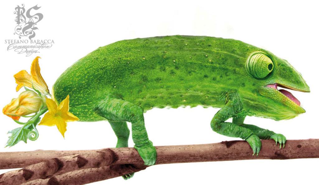Cetriolo con gambe e occhi tipo camaleonte