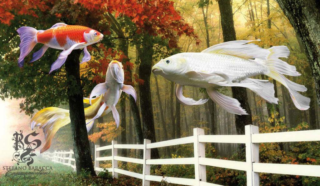 Pesci colorati che volano in un bosco
