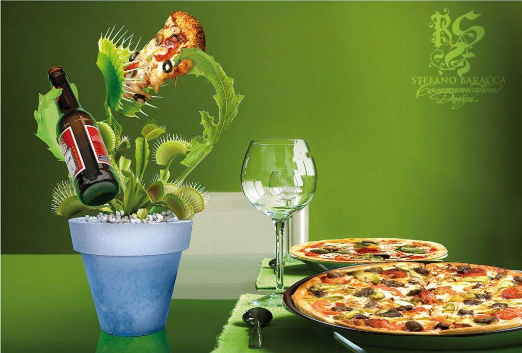 Pianta carnivora che mangia pizza