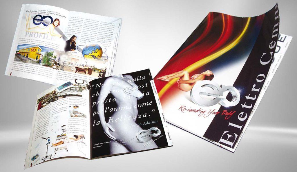 Brochure cosmetica su sfondo chiaro